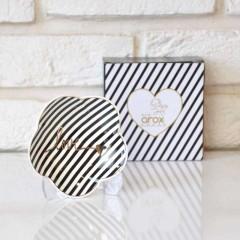Arox 6'lı, Çizgili, Altın Love Yazılı, Porselen Çay Tabağı - Siyah resmi