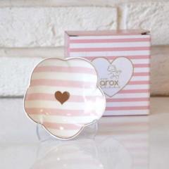 Arox 6'lı, Çizgili, Altın Kalpli, Porselen Çay Tabağı - Pembe resmi