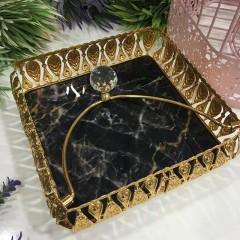 Mermer Desenli Taşlı Dekoratif Lüx Peçetelik - Siyah