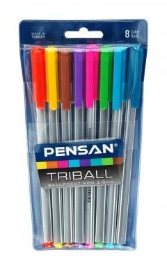 Pensan Triball Renkli Tükenmez Kalem 8'li resmi